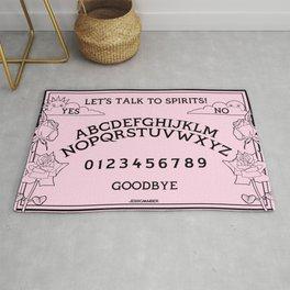 Let's Talk To Spirits | Pastel Pink Black Summoning Board Game Rug