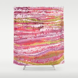 Pink Brush Dots Shower Curtain