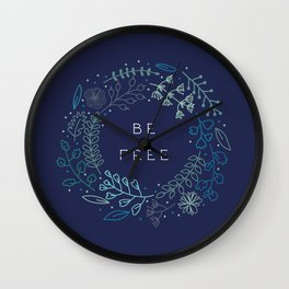 BE FREE - dark blue Wall Clock