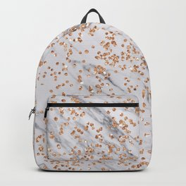 Rose gold diamond confetti on marble Backpack