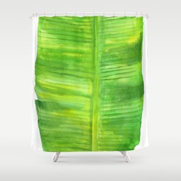 Banana Leaf Watercolor Painting Shower Curtain