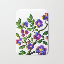 Blue Pink Yelow Flower Branch Clip Art Bath Mat