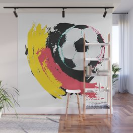 Football ball and red, yellow strokes Wall Mural