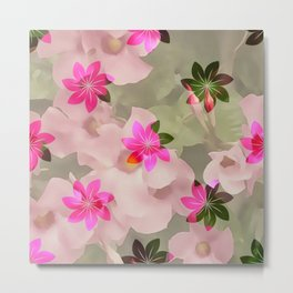 Flowers on Flowers - Pink and Green Metal Print