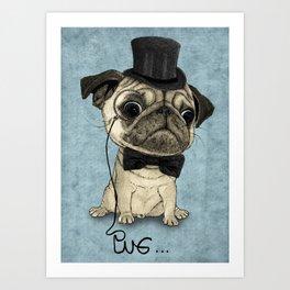 Pug; Gentle Pug (v3) Art Print