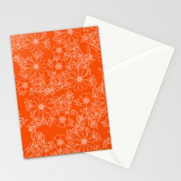 Hand drawn white bright orange modern floral Stationery Cards