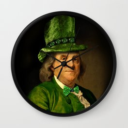 St Patrick's Day for Lucky Ben Franklin Wall Clock