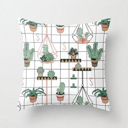 Modern Succulents Throw Pillow
