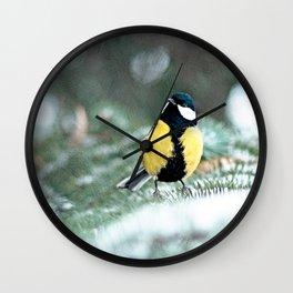 Blue Tit On Spruce Tree Wall Clock