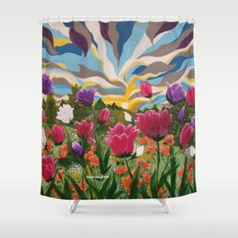 Field of Dreams, Floral Landscape, Abstract Floral Landscape, Acrylic floral field Shower Curtain
