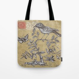 Vintage Birds and Bugs Tote Bag