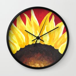 Sunflower on Red #2 Wall Clock