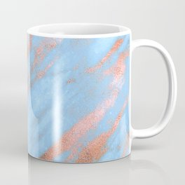 Sky Blue Marble With Rich Rose-Gold Veins Coffee Mug