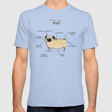 Anatomy of a Pug MEDIUM Mens Fitted Tee Tri-Blue