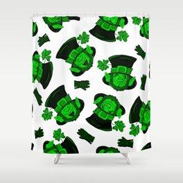 Retro Vintage St Patricks Day Green Leprechaun Shower Curtain