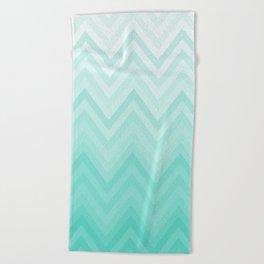 Fading Teal Chevron Beach Towel