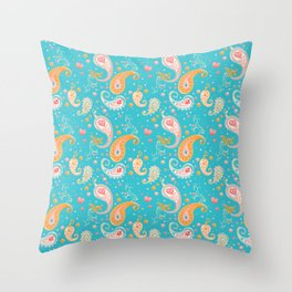 Paisley Hearts Turquoise Throw Pillow