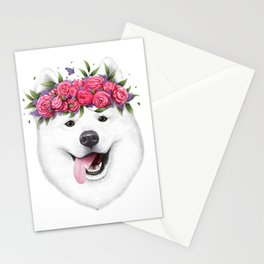 Samoyed with flowers Stationery Cards