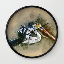 Watercolor Brown Pelican Wall Clock