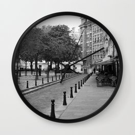 Paris in Black and White, Place Dauohine Wall Clock