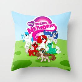 My Social Networks - My Little Pony Parody Throw Pillow