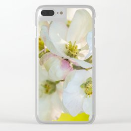 Close-up of Apple tree flowers on a vivid green background - Summer atmosphere Clear iPhone Case