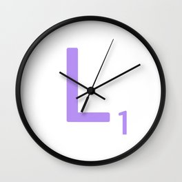 Lavender Monogram Scrabble L Wall Clock