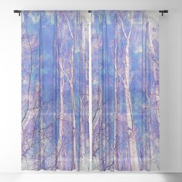 White Trees Light Blue Sky In February Watercolor Sheer Curtain