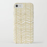gold iPhone & iPod Cases featuring Gold Herringbone by Cat Coquillette