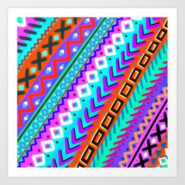 90s Inspired Print // Painted Tribal Multi-Color Rainbow Art Print