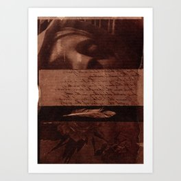 Fragments of Creations: statue, poem, feather, flowers. Collage Art Art Print