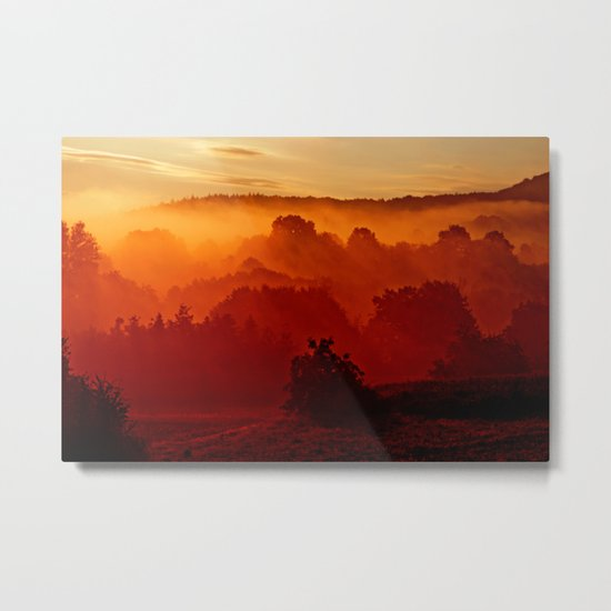 Mystical foggy morning Metal Print