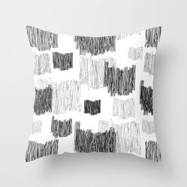Back and gray hand-scribbled lines pattern Throw Pillow