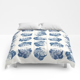 Minimal Patterns - Mexican Primrose Blue Comforters