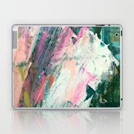 Meditate [2]: a vibrant, colorful abstract piece in bright green, teal, pink, orange, and white Laptop & iPad Skin