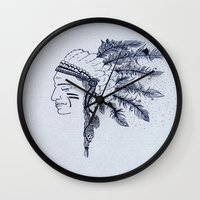native american Wall Clocks featuring Native American by Anna Flowers