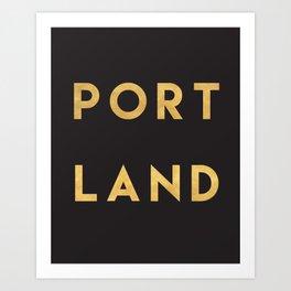 PORTLAND OREGON GOLD CITY TYPOGRAPHY Art Print