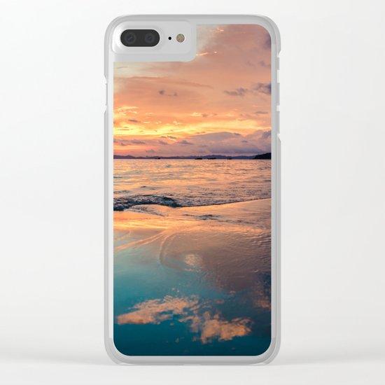 Beautiful Summer Beach Sunset Reflection Clear iPhone Case