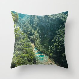 Aerial view of the natural turquoise pools of Semuc Champey, Guatemala Throw Pillow