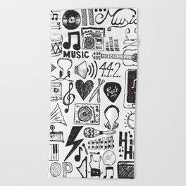 Music Doodles Beach Towel