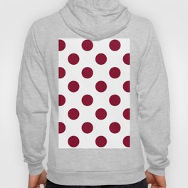 Large Polka Dots - Burgundy Red on White Hoody