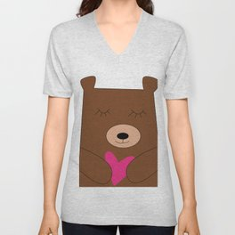 Bear in love pink Unisex V-Neck