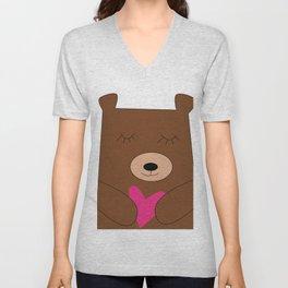 Bear in love pink Unisex V-Neck