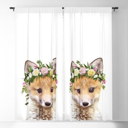 Baby Fox With Flower Crown, Baby Animals Art Print By Synplus Blackout Curtain