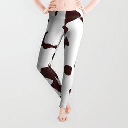 Large Spots - White and Dark Sienna Brown Leggings