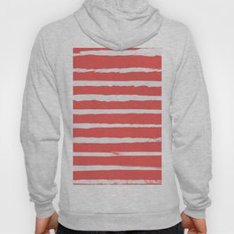 Irregular Hand Painted Stripes Coral Red Hoody