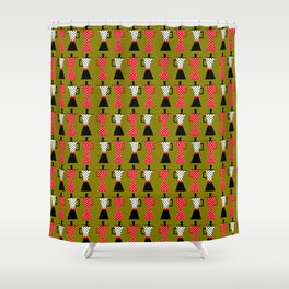Ole coffee pot in olive green Shower Curtain