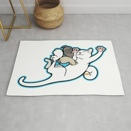Mama cat with Kittens Rug