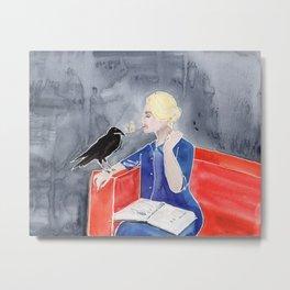 Tippi Hedren & a Crow Metal Print