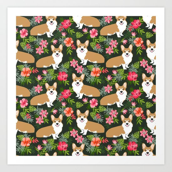 Welsh Corgi hawaiian print pattern florals tropical summer dog breed pet portrait by petfriendly